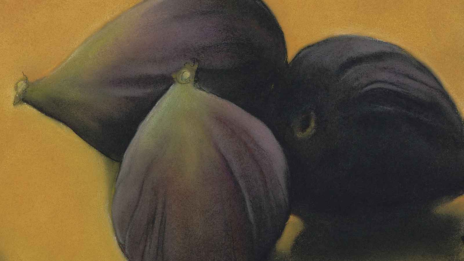 Painting of Figs by Sylvia Gonzalez on exhibit at the Gatehouse Restaurant, CIA at Greystone in the Napa Valley.